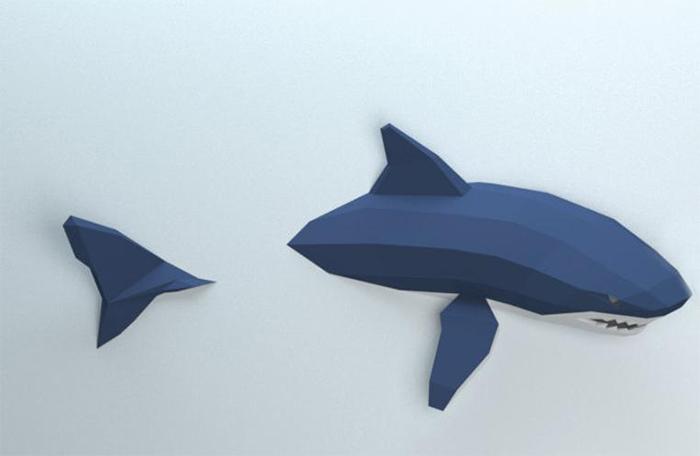 3d papercraft shark sculpture