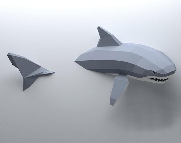 3d papercraft shark wall decor