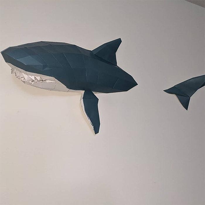 3d papercraft shark wall immersed