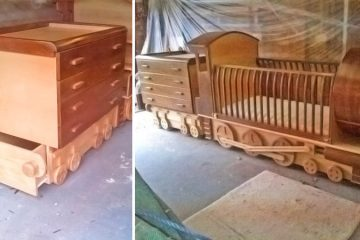 Wooden Train crib
