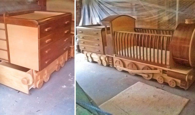 Wooden Train crib
