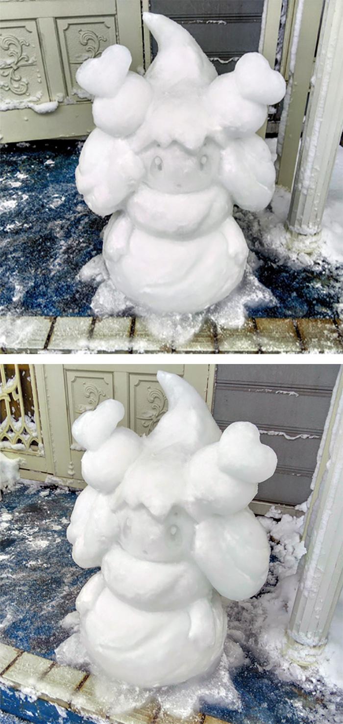 alcremie sculpted ice figure