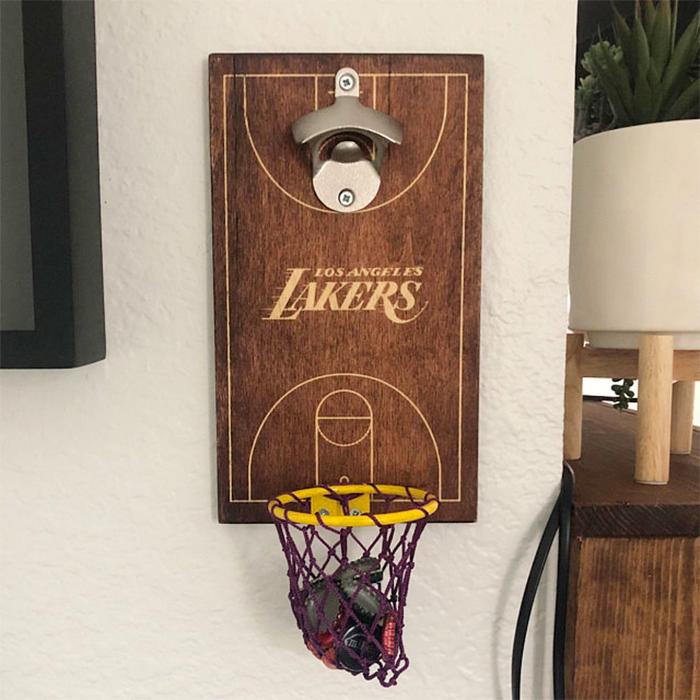 basketball bottle opener lakers logo