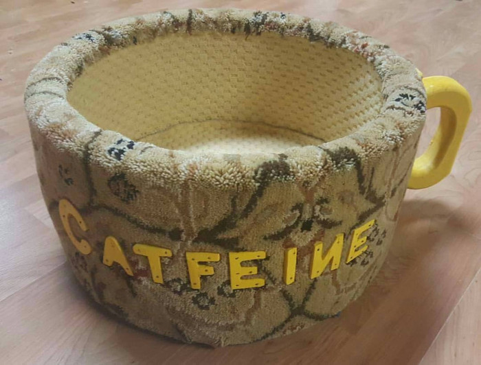 beige and yellow coffee mug bed for cats