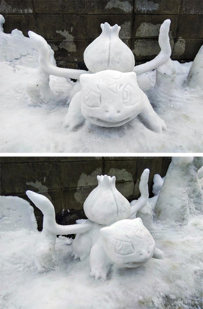bulbasaur sculpted ice figure
