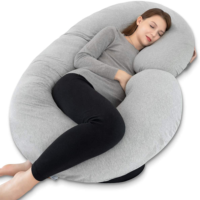 c-shaped pregnancy pillow grey jersey