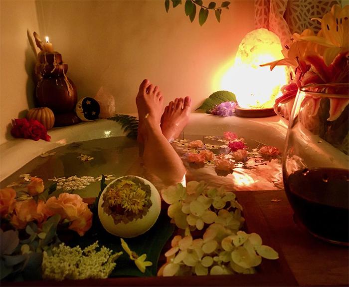 calendula and rose petals bath bomb