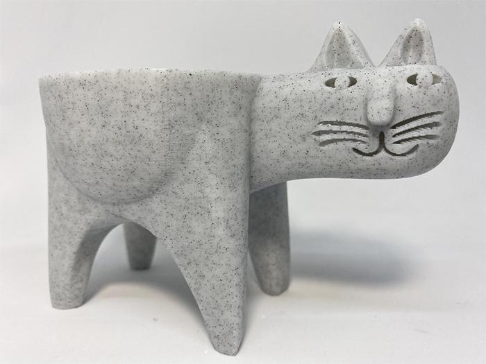 cat cactus planter grey marble