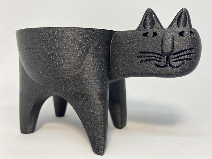 cat-shaped succulent vase twilight black