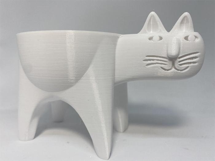 cat-shaped succulent vase white