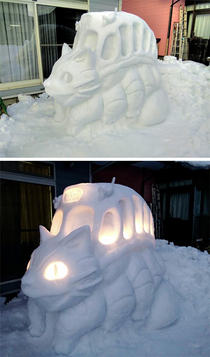 catbus snow sculpture