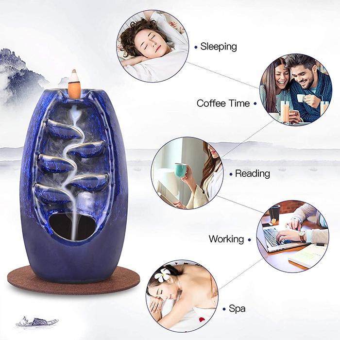 ceramic incense burner navy blue