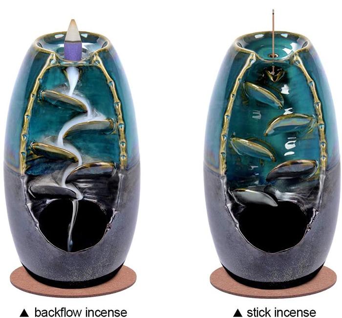 ceramic waterfall incense holder