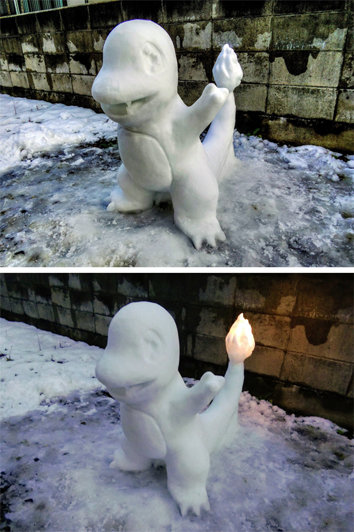 charmander snow sculpture