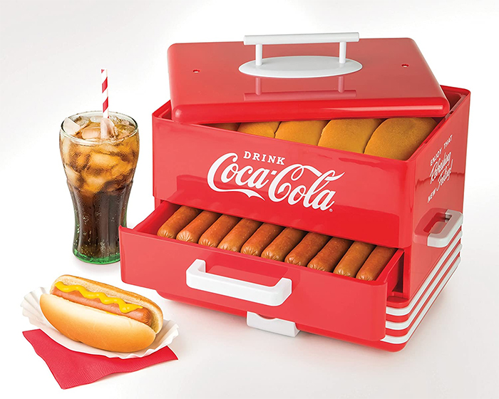 coke-inspired diner-style steaming unit