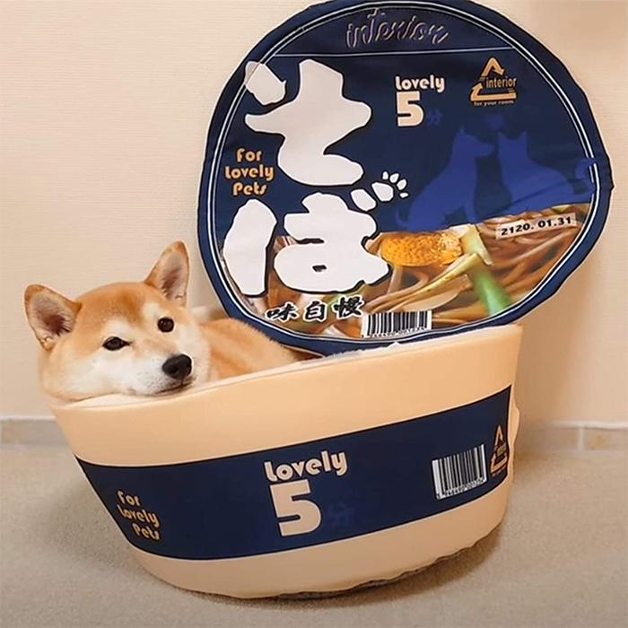 cup noodle pet bed blue