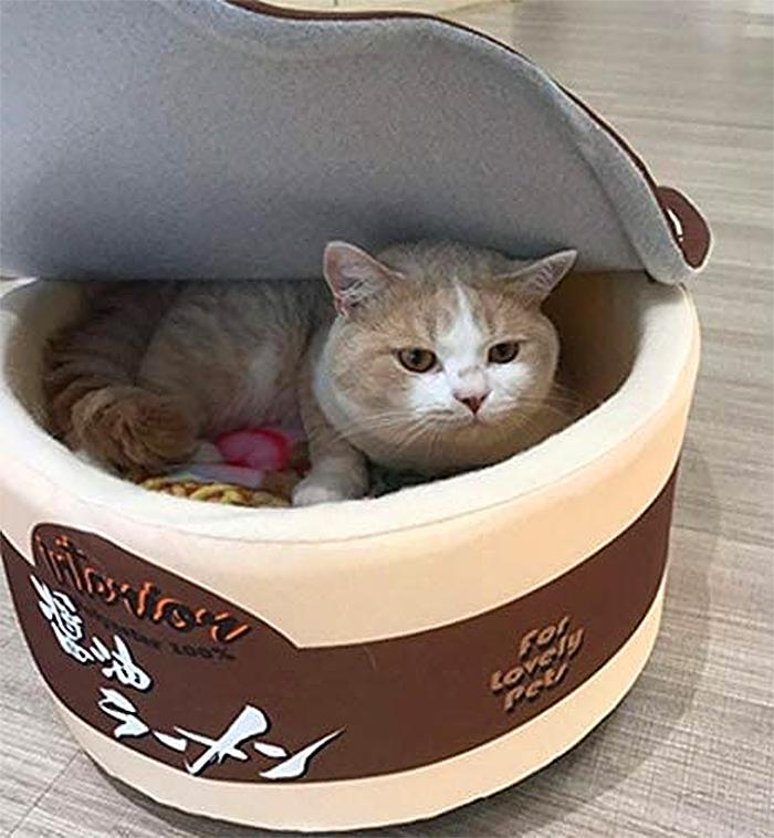 cup noodle pet bed brown
