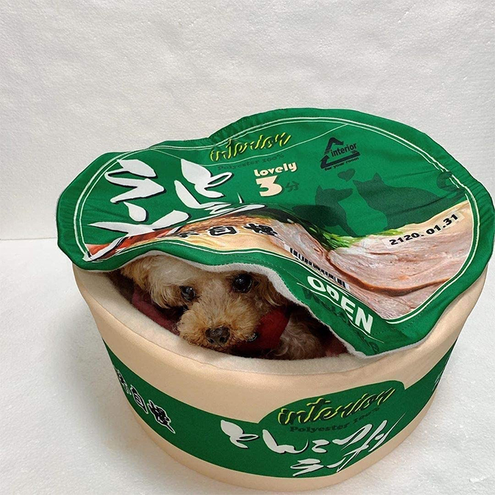 cup noodle pet bed green