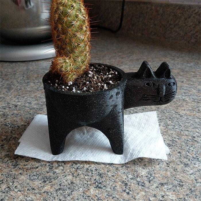 cute cat cactus planter