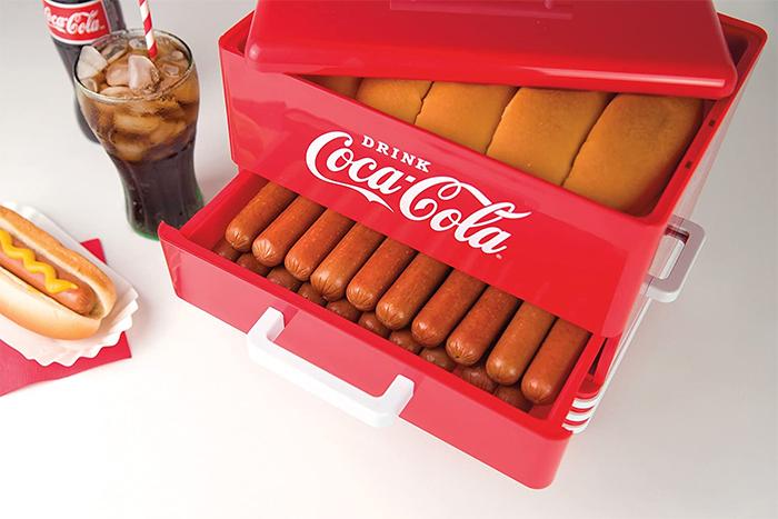 diner-style coca-cola hot dog steamer