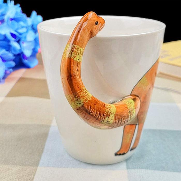 dinosaur long neck ceramic cup