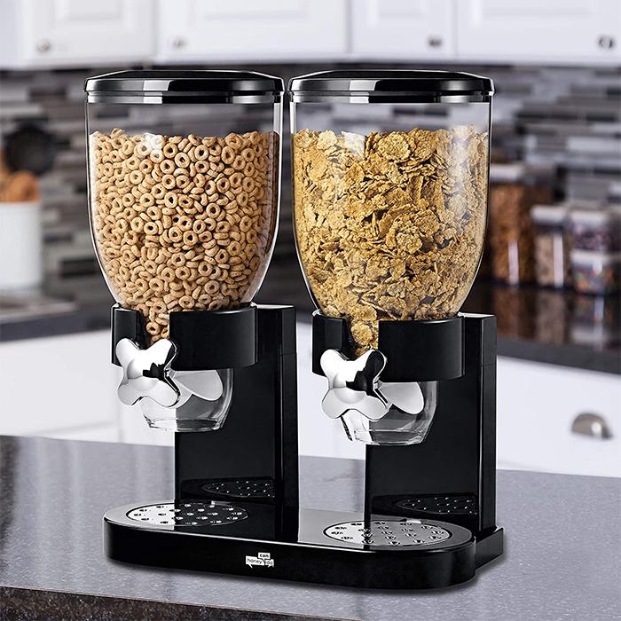 double cereal dispenser black