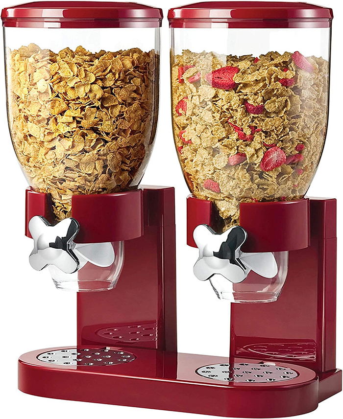 double cereal dispenser red