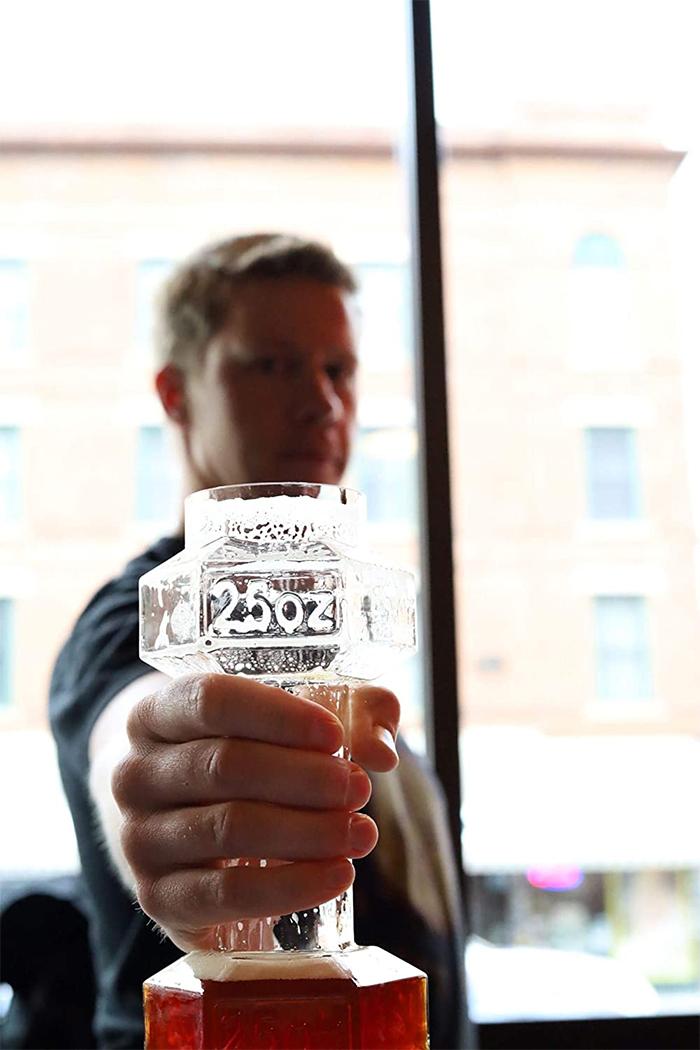 dumbbell beer glass 25oz