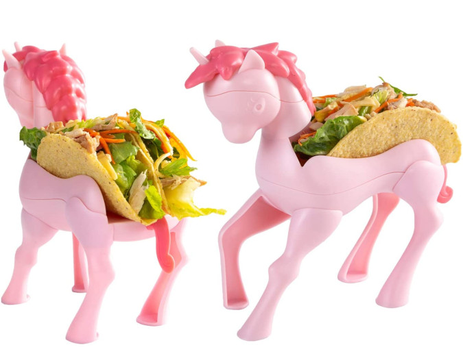 each unicorn taco holder can carry 2 tacos