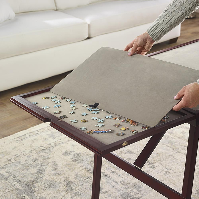 easy fold wooden tabletop for puzzles