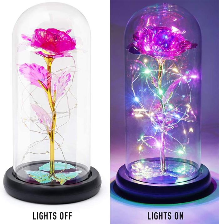 enchanted flower lamp dark pink