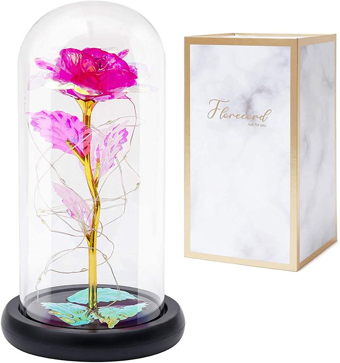 glass magical rose dark pink