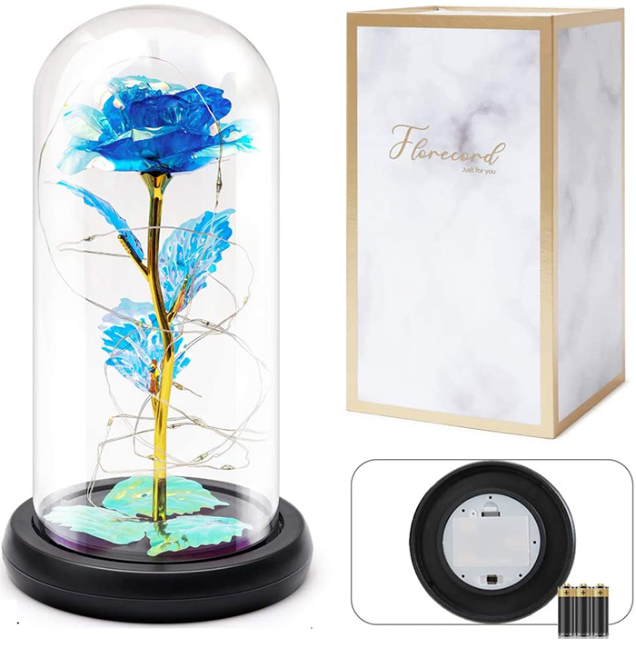 glass magical rose royal blue