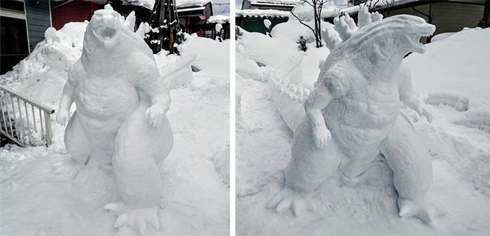 godzilla sculpted ice figure