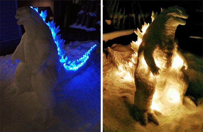 godzilla snow sculpture