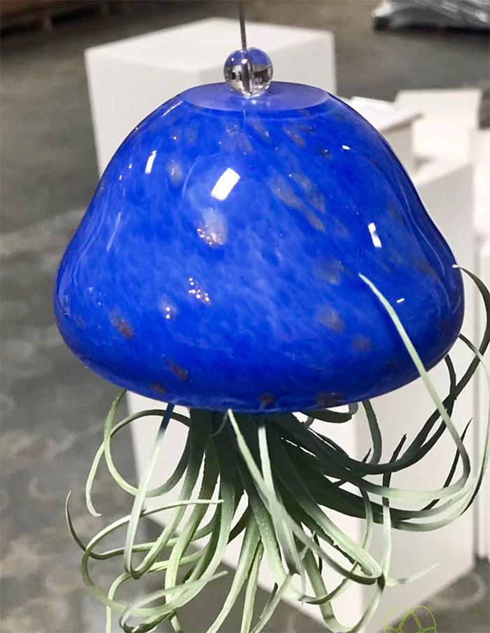 hand blown glass hanging planter blue