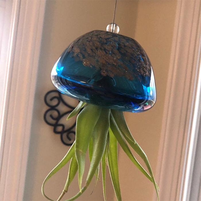 hand blown glass hanging planter dark blue