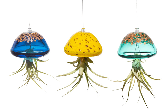 hand blown glass hanging planters