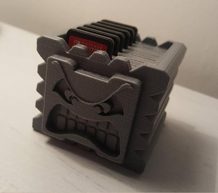 handydans3dprints 3d printed thwomp nintendo switch game cartridge holder