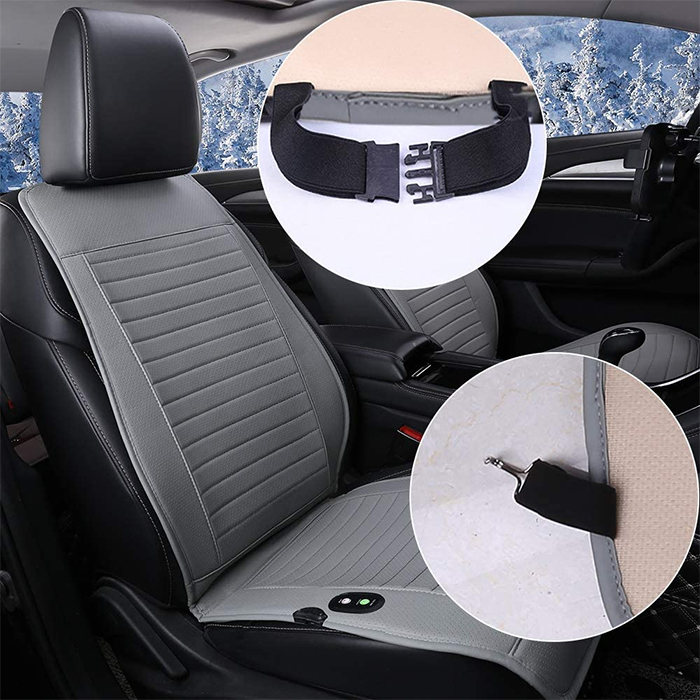 heated car seat cover straps and hooks