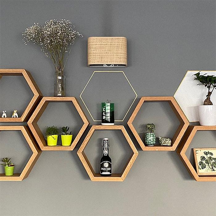 hexagon bee shelves