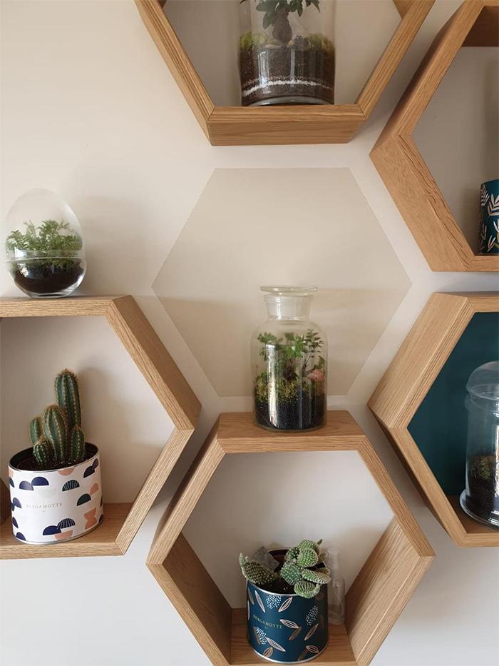 hexagonal floating shelves