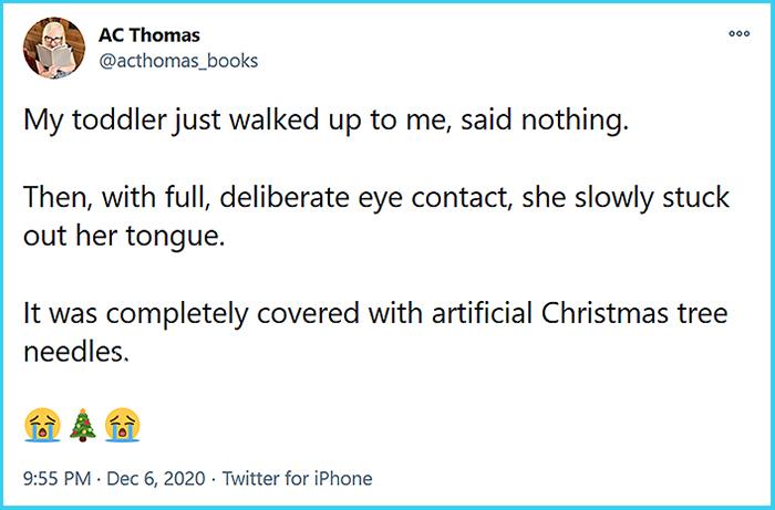 hilarious daughter prank christmas tree needles