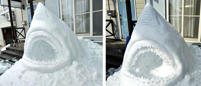 jaws snow sculpture