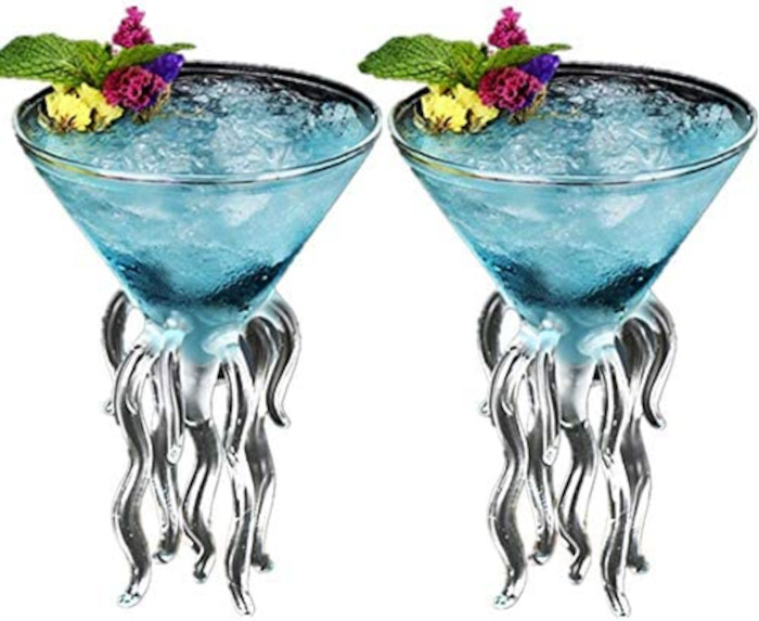 jellyfish martini glasses with cocktail
