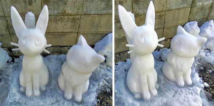 jiji and lily snow sculptures