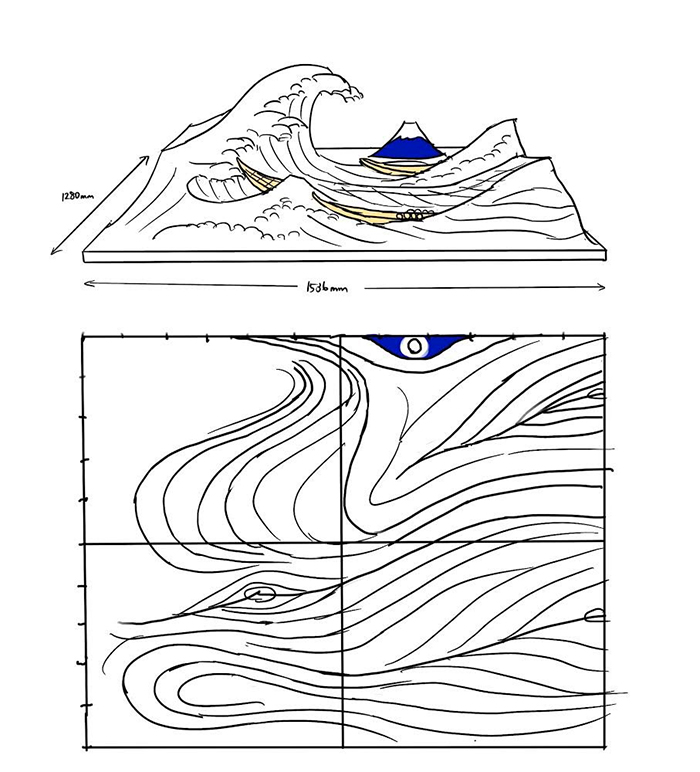 jumpei mitsui builds the great wave sketch
