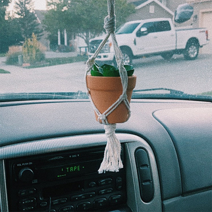 knotted macrame planter holder