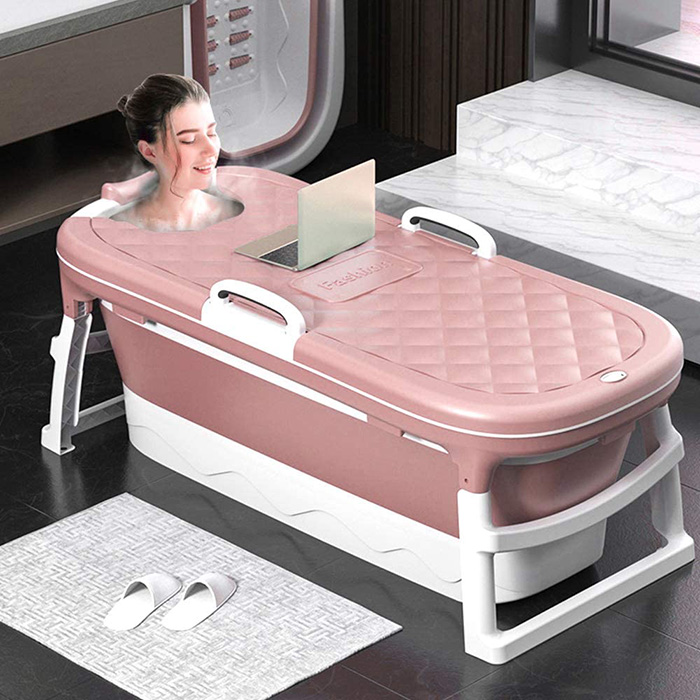 lady relaxing in collapsible spa tub with thermostatic cover