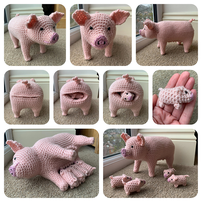 laulovescrochet crochet pattern output pig with piglets collage